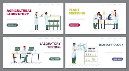 Set of web banner templates with scientists, biologists doing agricultural research