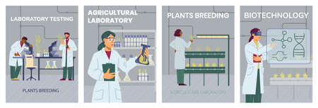 Agricultural laboratory researches and plants breeding, vector illustration. Vectores