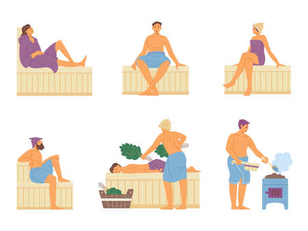 People in wellness club steaming in sauna, flat vector illustration isolated.