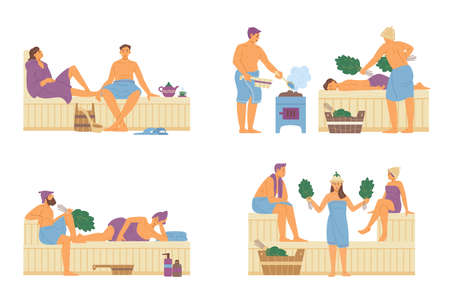 Men and women in sauna relaxing and washing, flat vector illustration isolated.