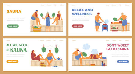 Set of vector web banners for advertise of relax at steam sauna or spa center. Vectores