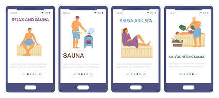 Onboarding screen interfaces kit for sauna and SPA, flat vector illustration.