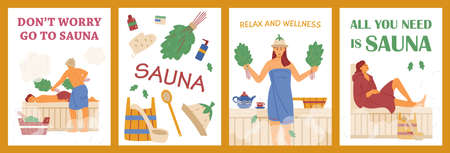 Vector posters with accessories for relaxation in banya and people enjoying sauna