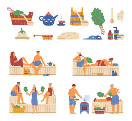 Vector illustrations with people relax in hot sauna and accessories steam banya.