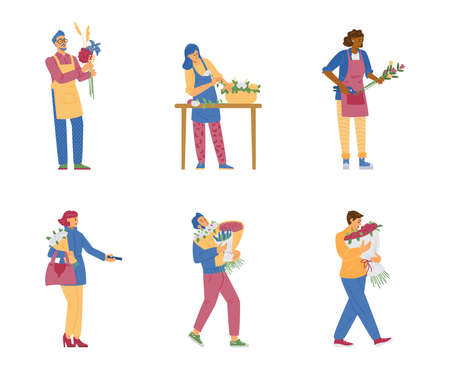 Set of cartoon female and male florist characters, floral shop customers in flat