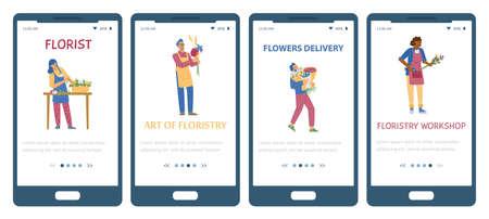Set of onboarding screen templates for floral shop, floristry workshop