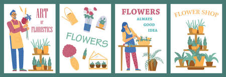 Set of posters for flower shop for sale of houseplants and floral plants in pots