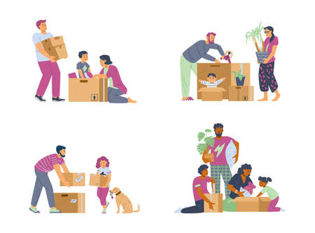 Families moving new house and packing boxes, flat vector illustration isolated.