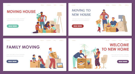 Family moving new house webpages collection, flat vector illustration.
