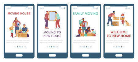 Set of mobile phone apps for relocation services of family at new house.