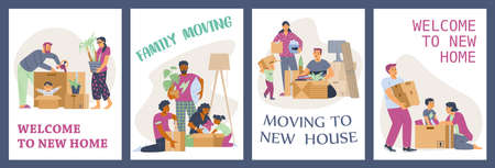 Banners or posters with families moving new home, flat vector illustration. Vectores