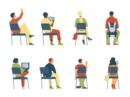 Set of people sitting on chairs with their backs, female and male characters