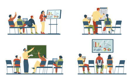 Business training or seminar scenes set of flat vector illustrations isolated. Vectores