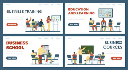 Business training and school website banners set, flat vector illustration.