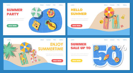 Summer pool or beach party and sale web banners set, flat vector illustration. Vectores