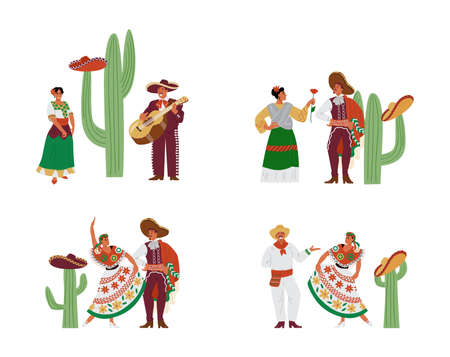 Mexican male and female characters in colorful traditional national costumes.