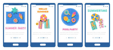 Mobile phone screens with concept fun pool party and summer vacation on resort