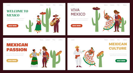 Mexican web banners collection with cartoon characters vector illustration.