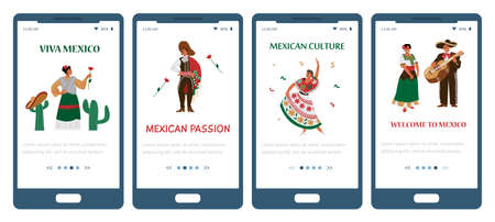 Set of vector mobile phone screens with dancing mexican people.