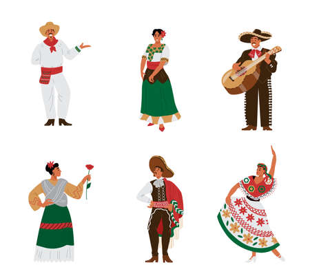 Set mexican male and female characters in beautiful traditional national costumes