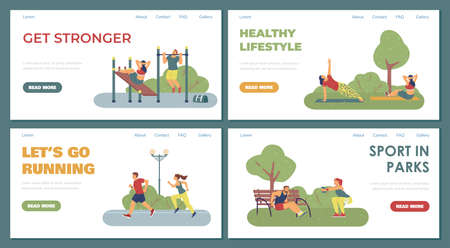 Set of vector web banners promoting healthy lifestyle and playing sport outdoor.