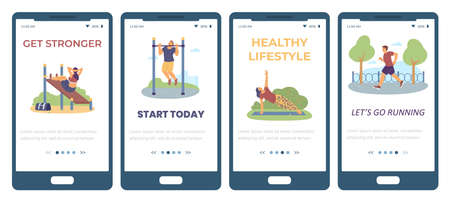 Onboarding app pages of sport and outdoor activity, flat vector illustration.