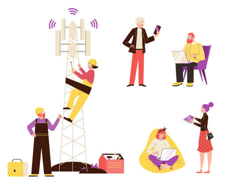 Vector illustration for concept of wireless internet network technology 5g.