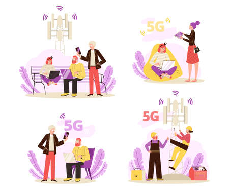 Set of vector illustrations for design concept of wireless network technology 5g Vectores