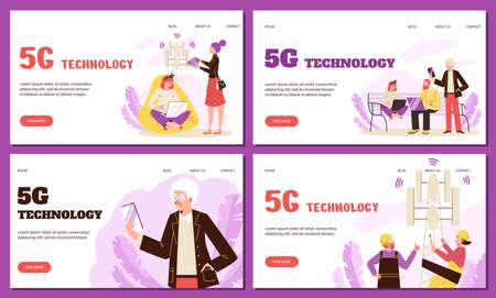 5G communication internet technology web banners set, flat vector illustration. Vectores