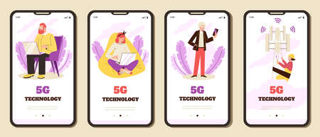 Smartphone screens with concept of wireless network technology 5g.