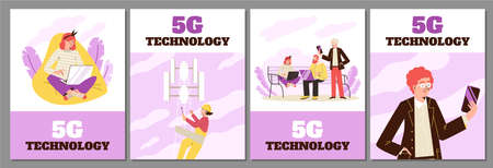 5G communication technology banners or posters set, flat vector illustration.