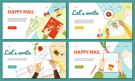 Web banners or presentation pages with letters, flat vector illustration.