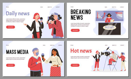 A vector set web apps for live broadcasting tv daily hot news and mass media.