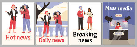 A set vector posters with reporters, journalists and leading news at tv studio