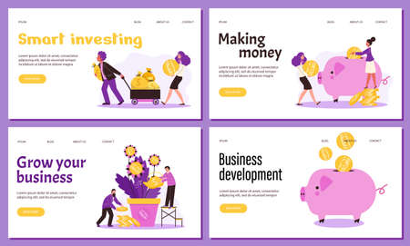 A set of web banners with concept of business investments and finance savings. Vectores