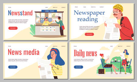 Web banners with people buying newspapers in newsstand and reading daily press