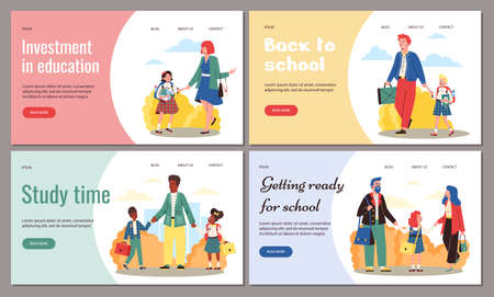 Set vector flat web banners with happy parents taking kids to school for learn Vectores