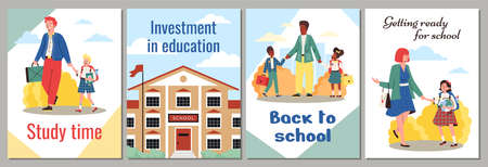 Kids education banners with children going to school, flat vector illustration.
