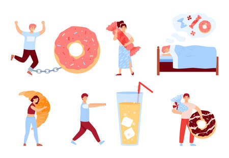 Men and women with sugar addiction, eating disorder and craving to sweet food and drink