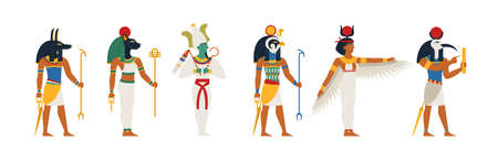 Set of ancient Egyptian gods in flat vector illustration style isolated