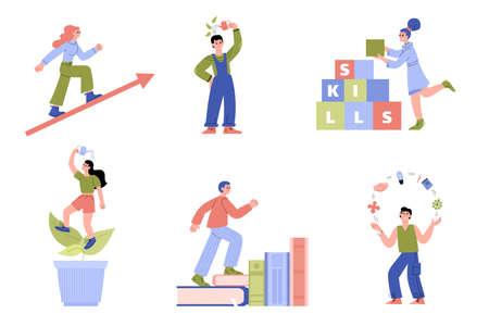 Self-improvement concept metaphors set with various cartoon characters