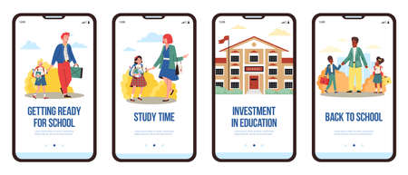 Banner with parents escorting their children to school, flat cartoon vector illustration. Kids going to school accompanying by their mothers and fathers.