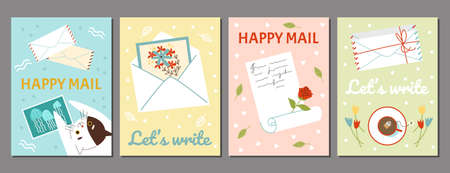 Set banners with letters and postcards, flat cartoon vector illustration.