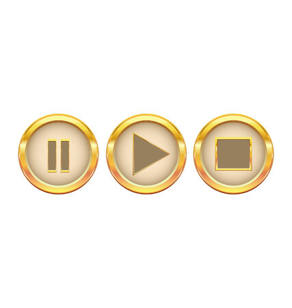 gold buttons play pause stop  Vector
