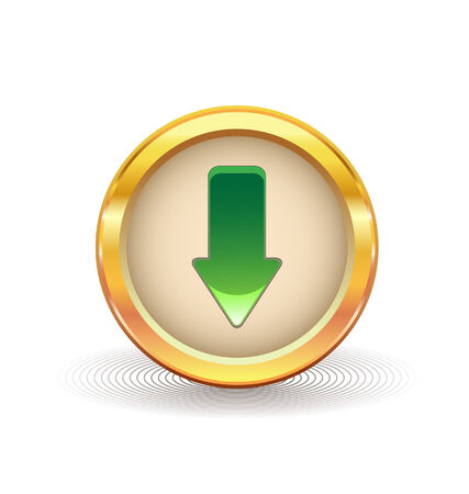 gold button with downloads sign  Stock Illustratie