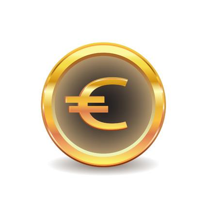 euro teken: Gouden knop met euro symbool