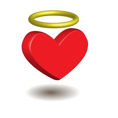 gloriole: coraz�n con aureola  Vectores