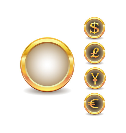 pound sign: golden buttons with words currency icons  Illustration