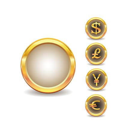 sterlina: Golden pulsanti con le icone di parole valuta  Vettoriali