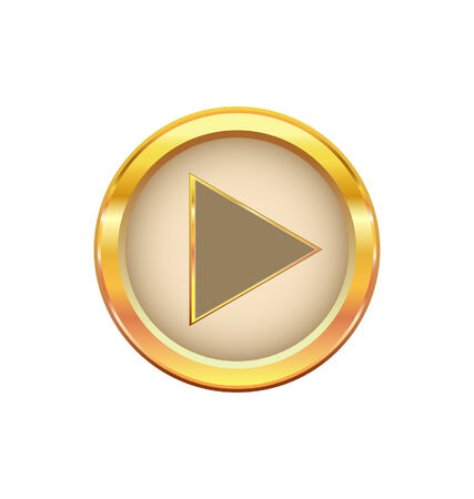 gold button with play  sign  Vector